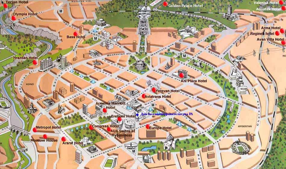 Карта центра города Ереван