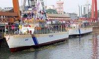 На верфи в Китае спустили на воду два патрульных катера для Береговой охраны Индии