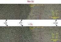 Разработка метода модифицирования сварного шва скандием, при лазерной сварке сплавов системы  Al-Cu-Li И Al-Mg-Li